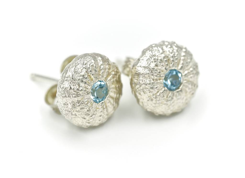 Sea Urchin Earrings - Sterling Silver - Small (Sky Blue)