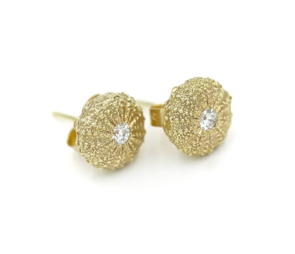 Sea Urchin Earrings - 14K Gold - Small (Diamond)