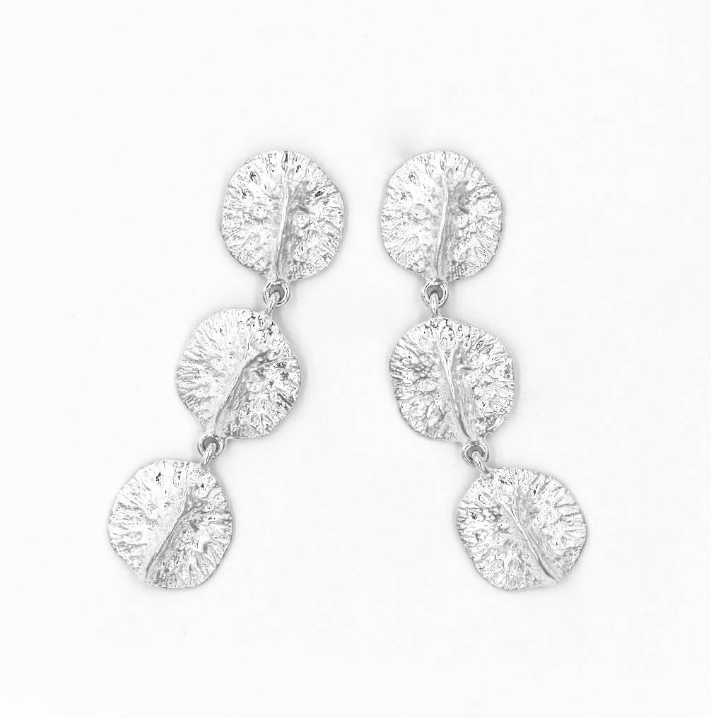 Alligator Scute Earring - Triple - Sterling Silver