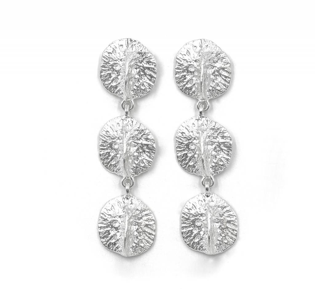 Triple Alligator Scute Earring - Sterling Silver