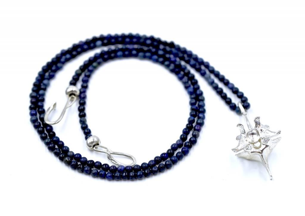 Rattlesnake Vertebrae Pendant Necklace - Sterling Silver (XL) Opera Length