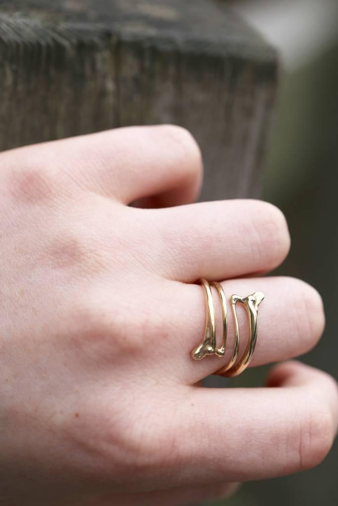 Rattlesnake Double Rib Ring - 14K Gold