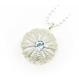 Sea Urchin Pendant - Sterling Silver - Single (Sky Blue Topaz)