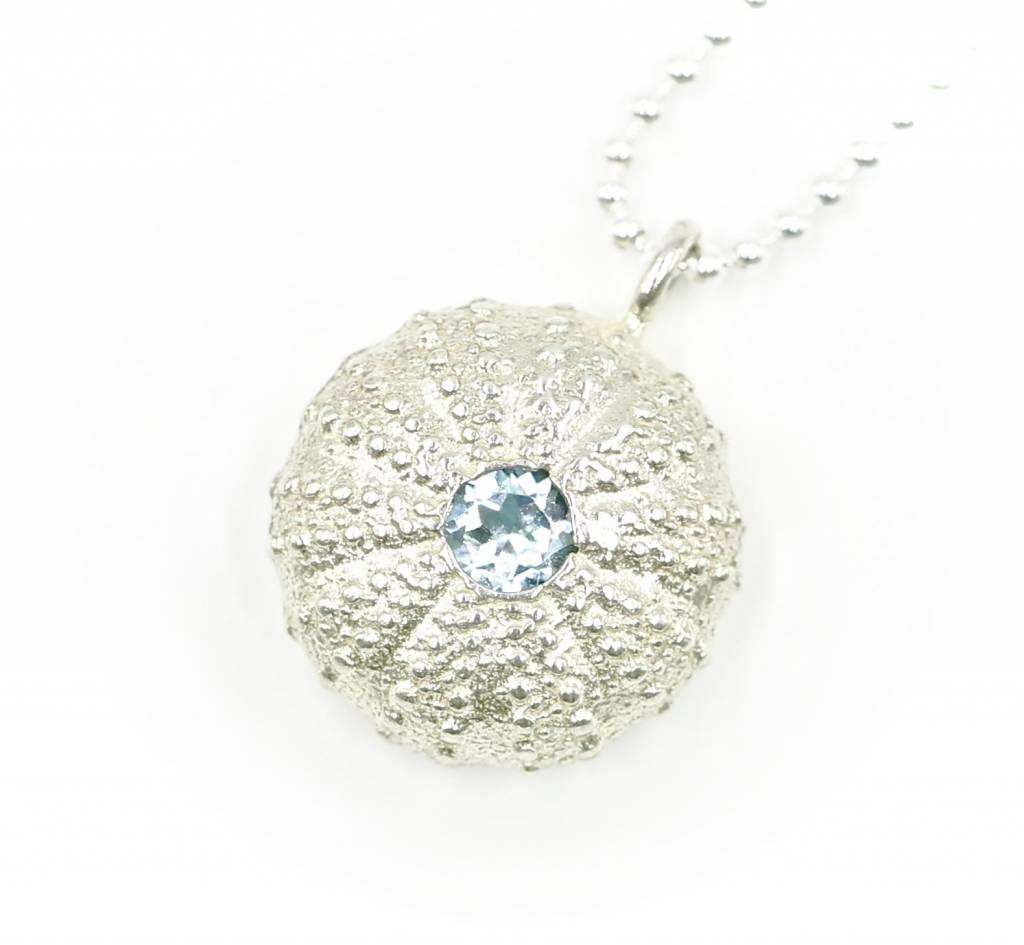 Sea Urchin Pendant - Sterling Silver - Single (Sky Blue)