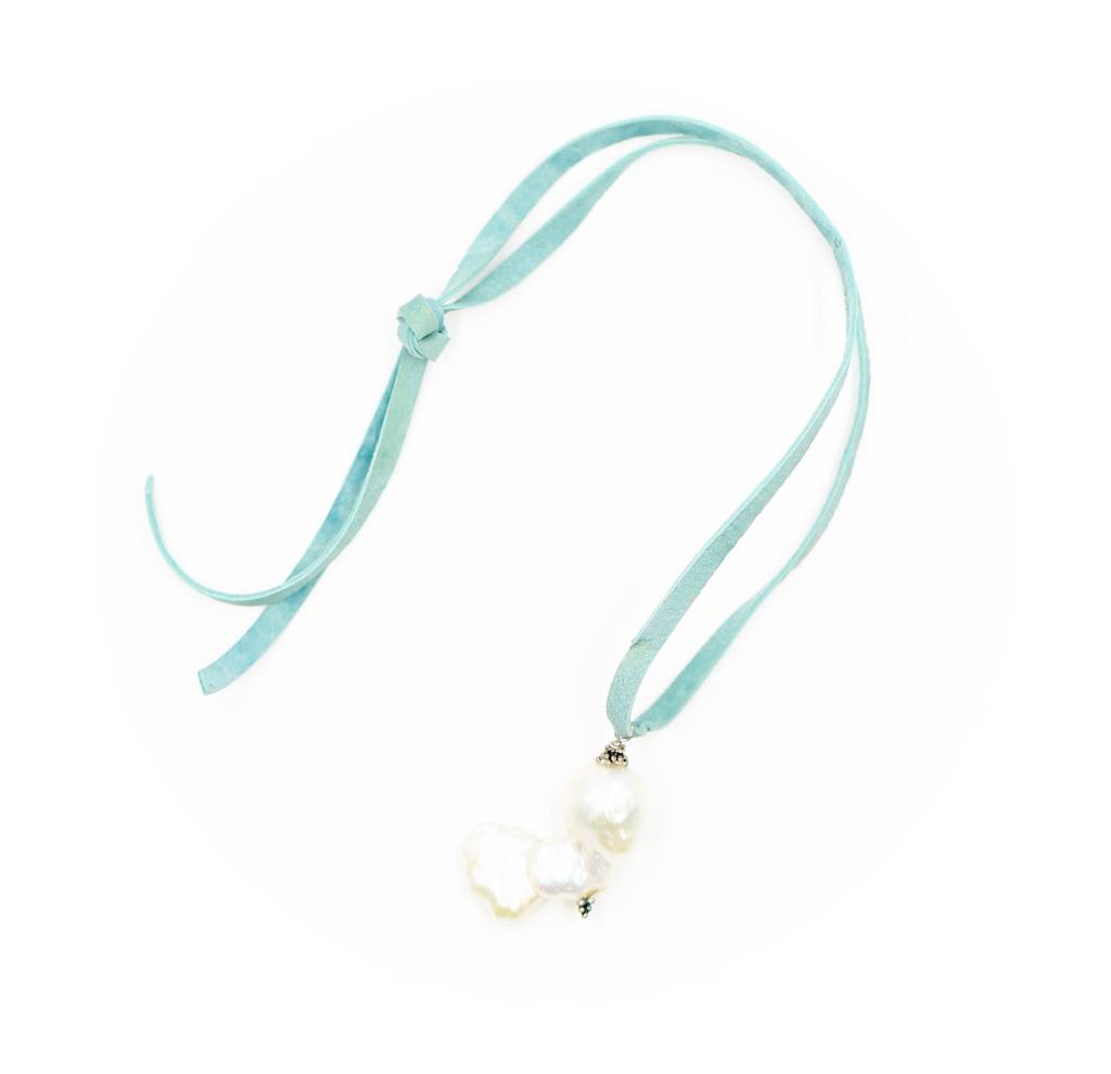 Baroque Pearl Single Drop Necklace - Leather