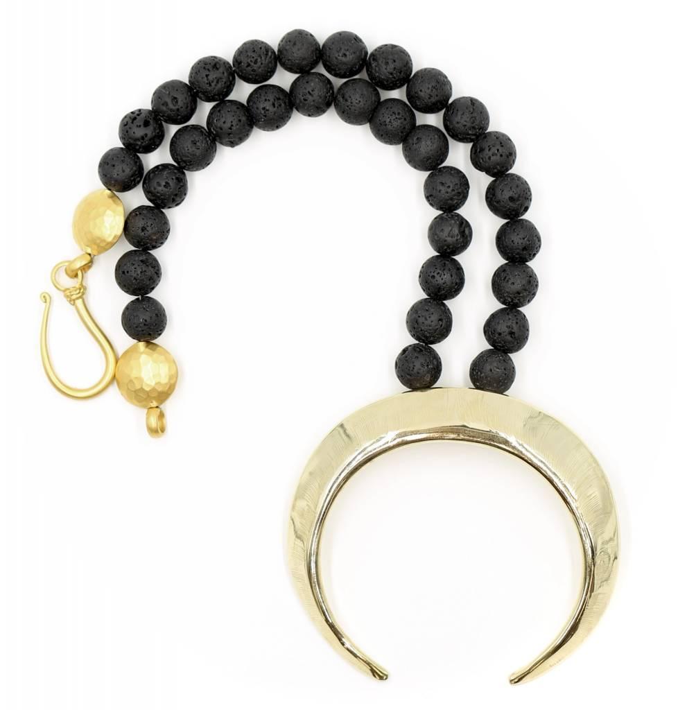 Boars Tusk Pendant Necklace - Tumbaga (Small) - Shiny