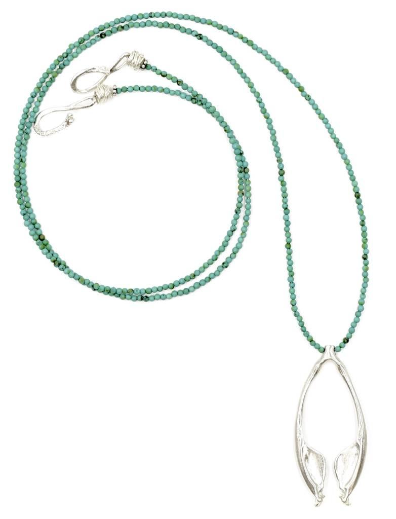 Rattlesnake Jawbone Pendant Necklace - Sterling Silver (Opera Length)