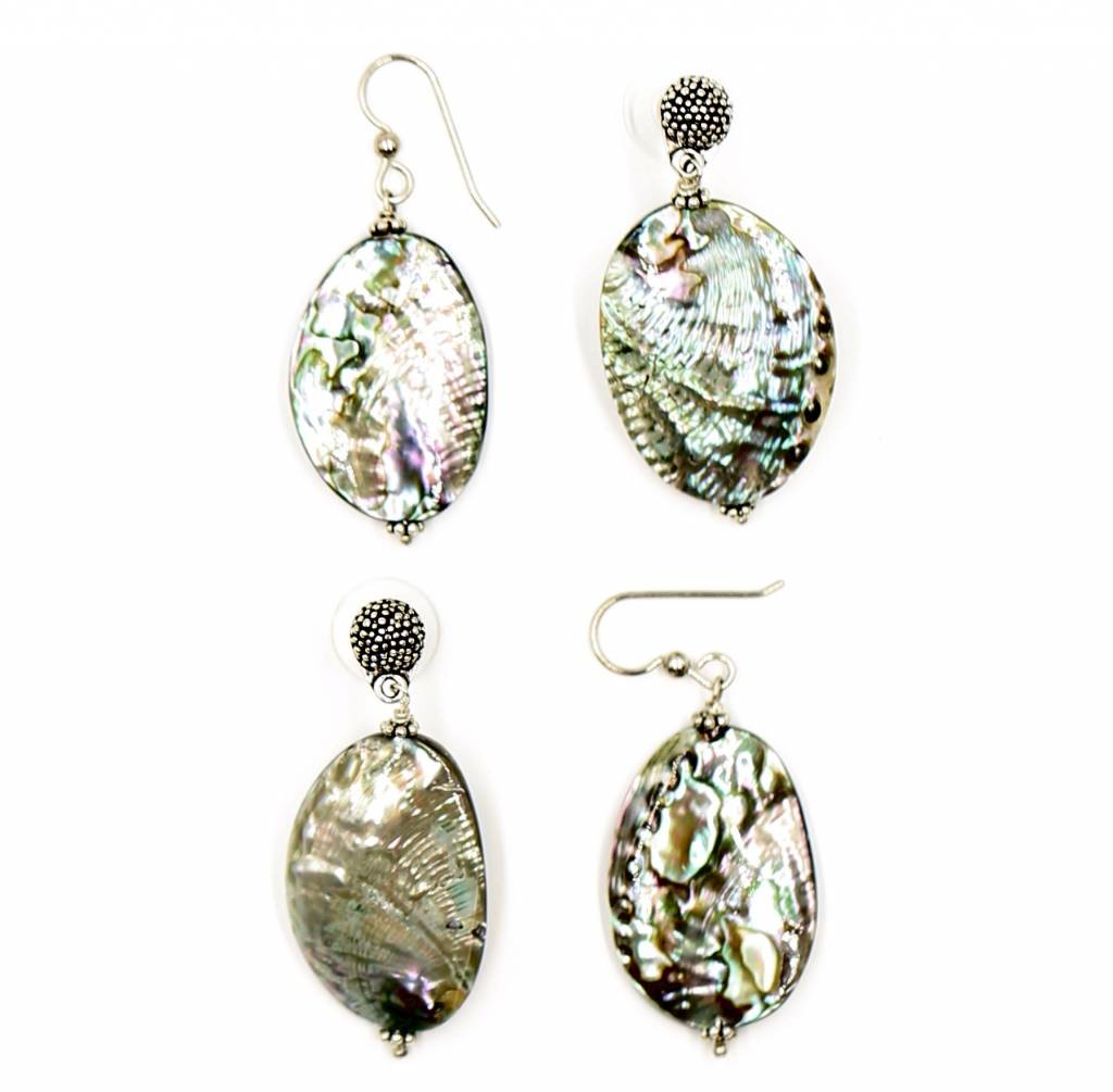 Abalone Drop Earring - Sterling Silver (Small) - Post/Wire