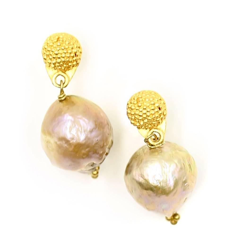 Baroque Pearl Drop Earrings Vermeil Post