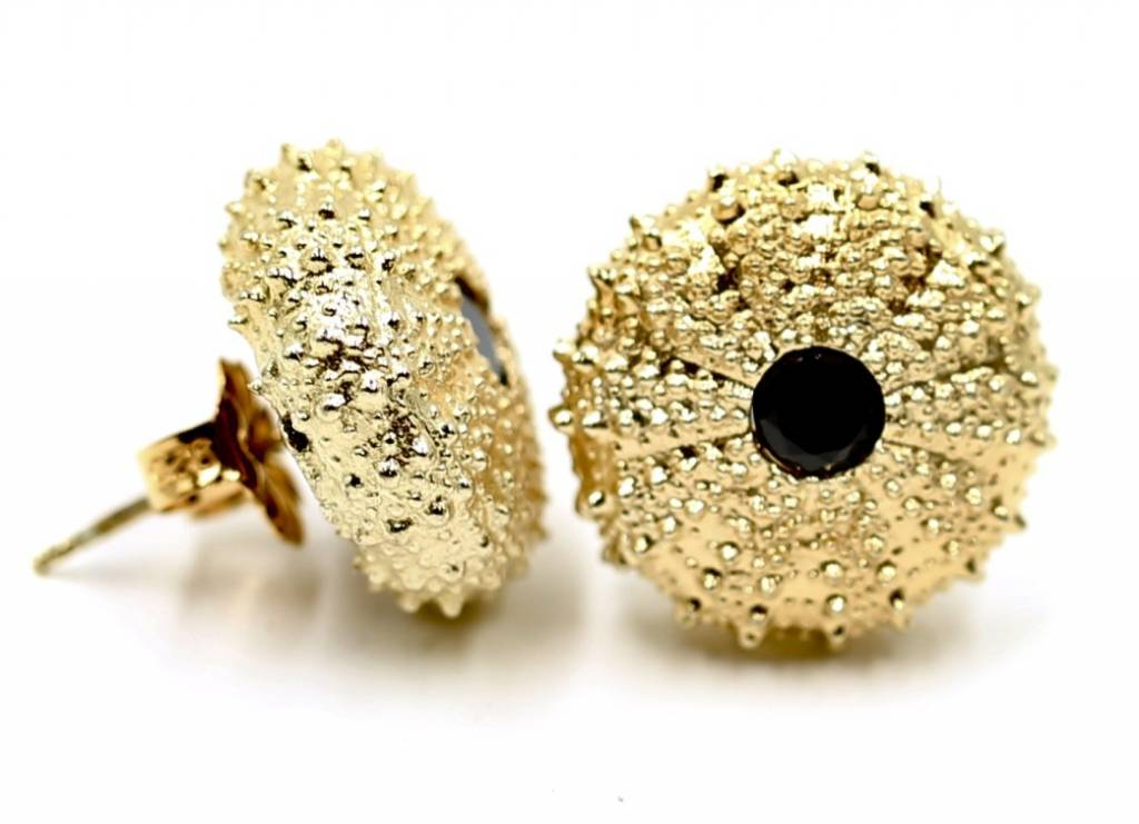 Sea Urchin Earrings - Vermeil - Large (Black Onyx)