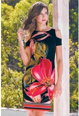 Frank Lyman Frank Lyman Black and Red Floral Dress - 176608