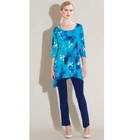 Clara Sun Woo Clara Sunwoo Water Drop Strap & Angle Neckline Tunic - Turquoise Multi - TU405P2