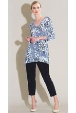Clara Sun Woo Clara Sunwoo Floral Starburst Print V Side Vent Tunic - Black/White- T103P4