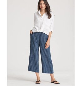 Eileen Fisher ORGANIC LINEN DELAVE PINSTRIPE CROPPED WIDE-LEG PANT S8QJH-P2524M