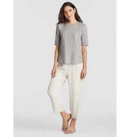 Eileen Fisher SYSTEM ORGANIC COTTON JERSEY MELANGE ELBOW-SLEEVE TEE EESOQ-T4368M