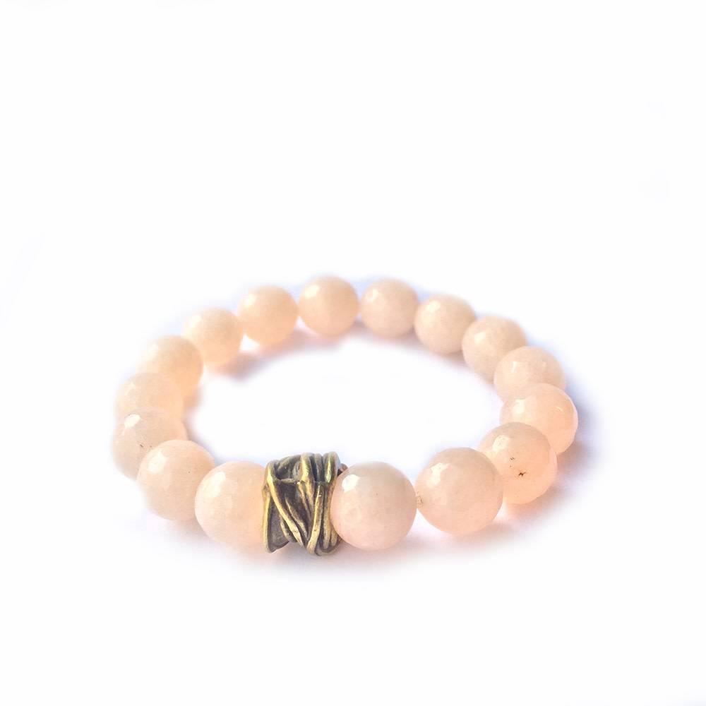 Lula n Lee Lula n Lee stretch bangle bracelet in salmon jade
