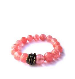 Lula n Lee Lula n Lee stretch bangle bracelet in cherry quartz