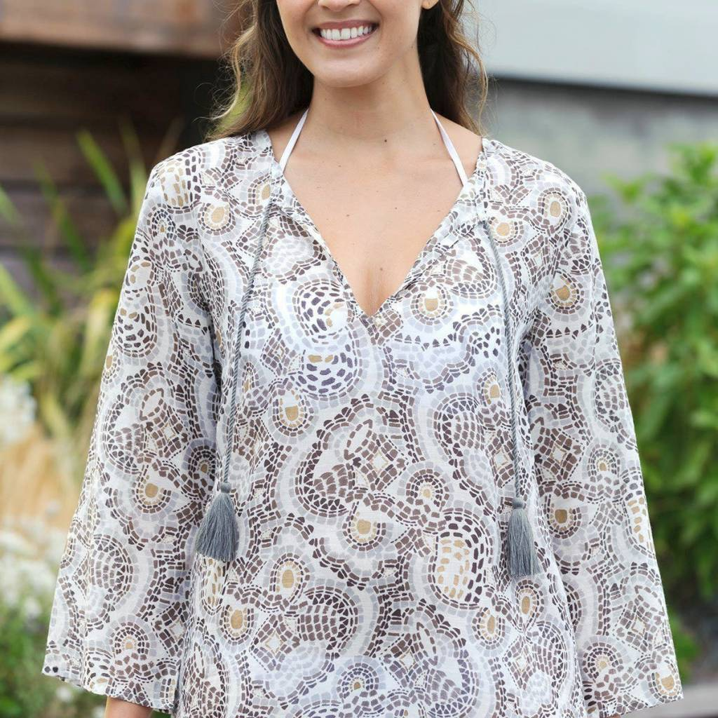 Rock Flower Paper Mosaic Grey Cotton Beach Coverup Tunic