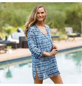 Rock Flower Paper Symi Navy Cotton Beach Coverup Tunic