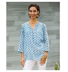 Rock Flower Paper Samos Blue Cotton Voile Tunic