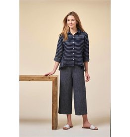 Habitat Linen Stripe Flood Pant in black