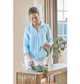 Habitat Vineyard Stripe angled hem shirt