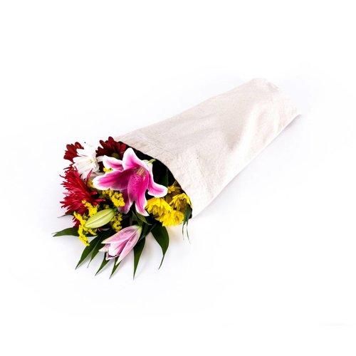 Linen-look Flower Bag