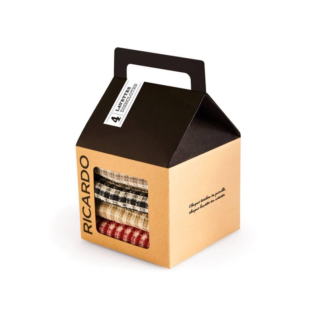 Lavettes de coton carreaux boutique ricardo for Tablier de cuisine ricardo