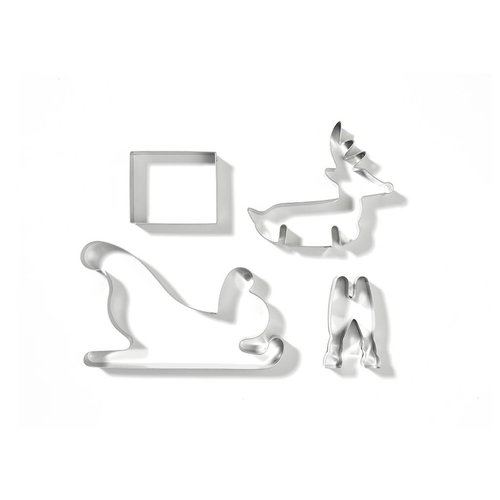 3D Reindeer and Sleigh Cookie Cutters Set