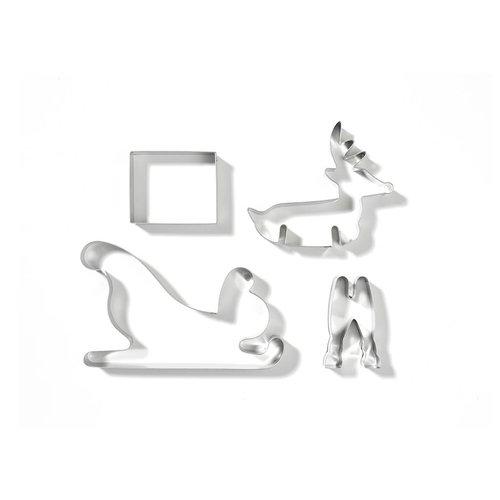 Emporte-pièces en forme de renne et de traîneau en 3D