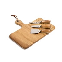 Acacia Wood Cheese Board and Cheese Knives Set