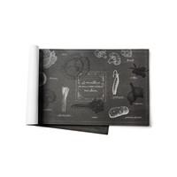 Napperons de papier noir imprimés «Légumes dujardin»