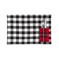 Black and White Placemats with Utensil Pocket