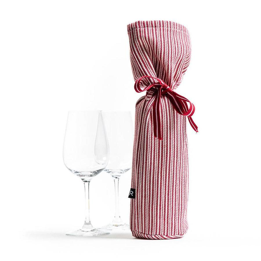 Red and White Striped Wine Bag - Photo 0