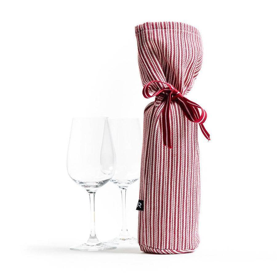 Sac à vin rayé rouge et blanc - Photo 0