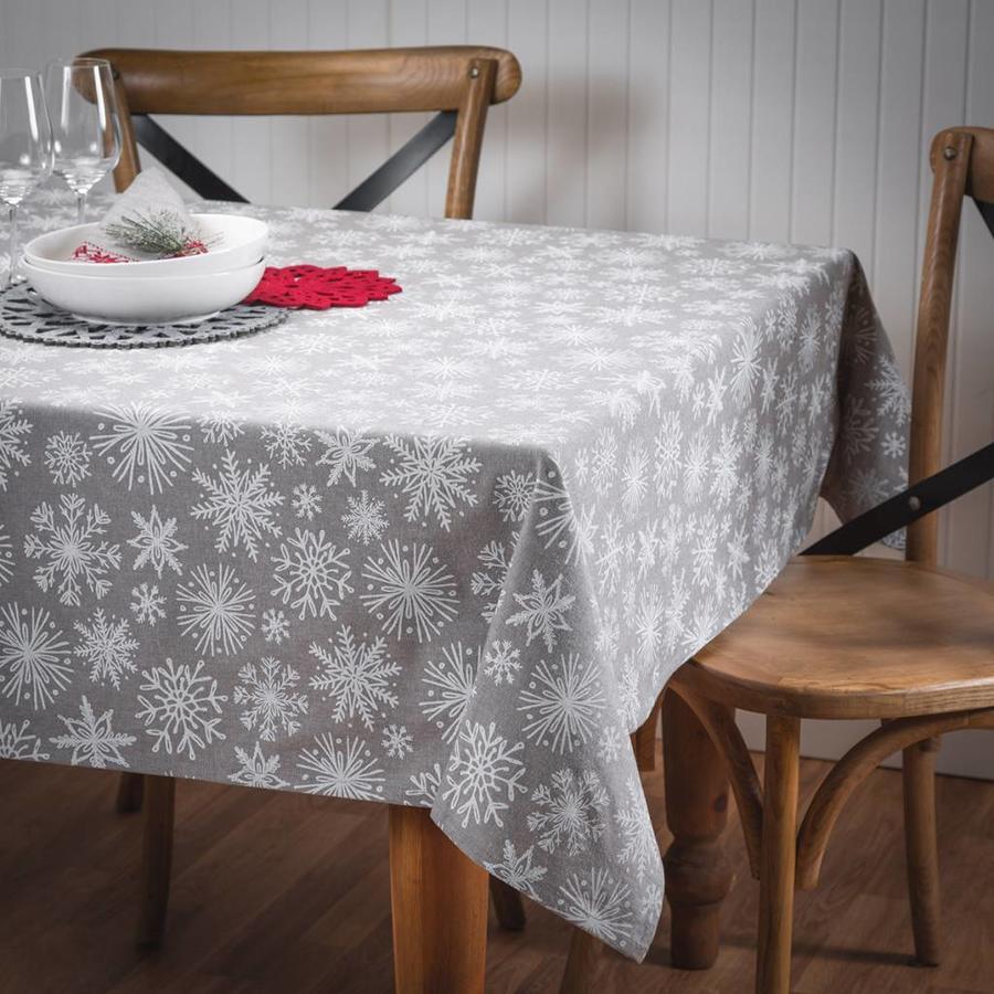 Grey Tablecloth with White Snowflakes - Photo 0