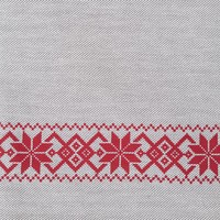 Tweed Tablecloth in Red Herringbone Pattern
