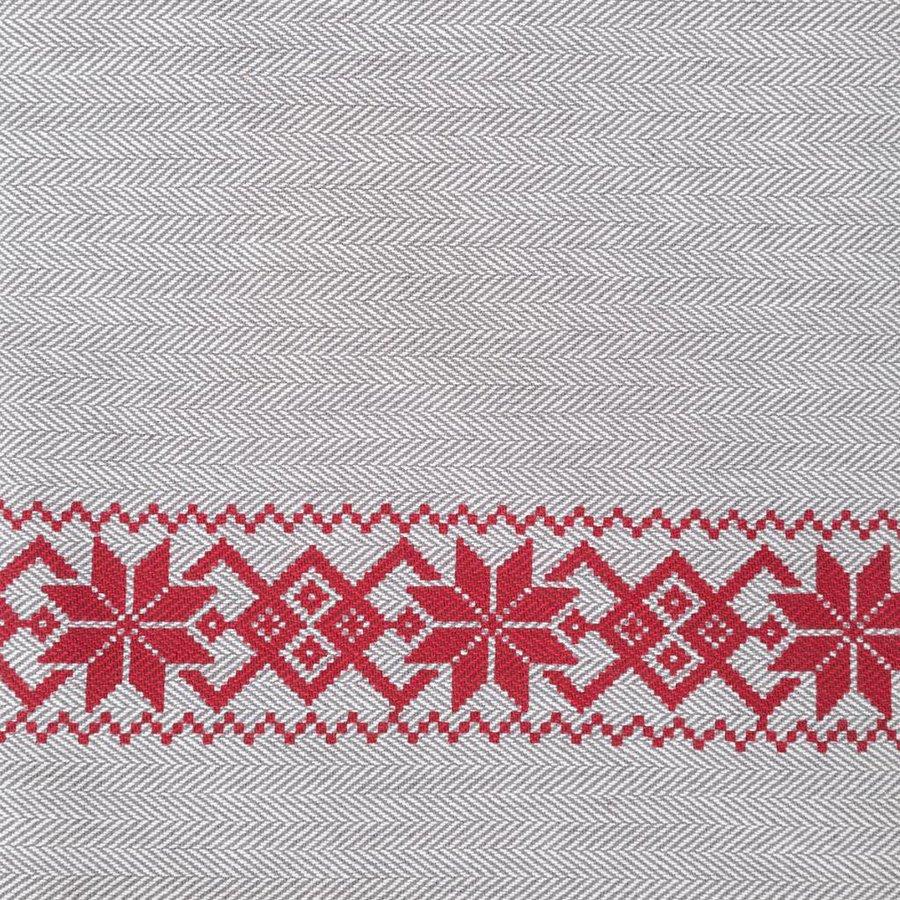 Tweed Tablecloth in Red Herringbone Pattern - Photo 1