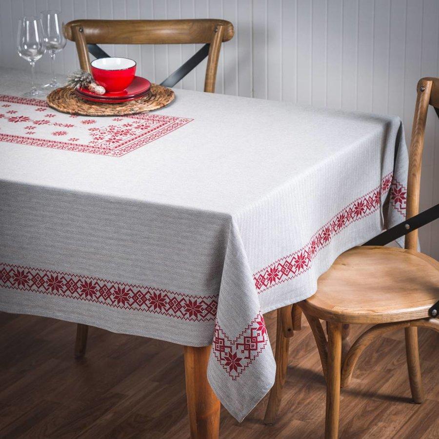Tweed Tablecloth in Red Herringbone Pattern - Photo 0