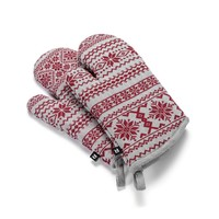 Tweed Herringbone Oven Mitts with Red Pattern