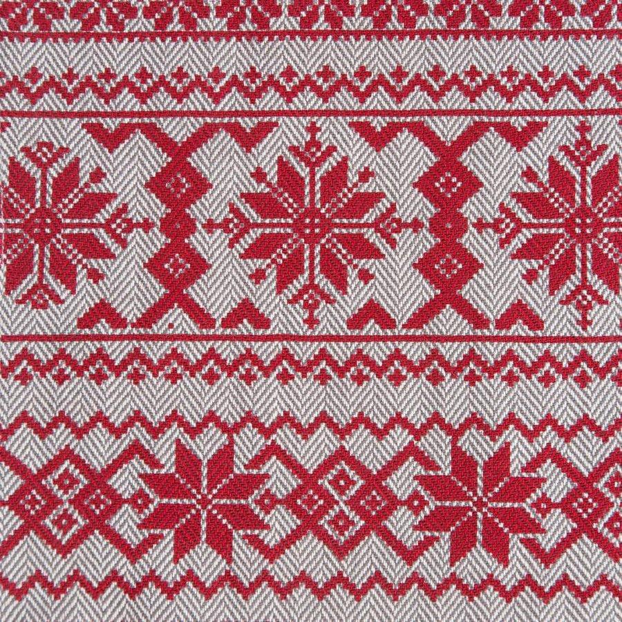 Tablier en tweed à chevrons avec imprimés rouges - Photo 2