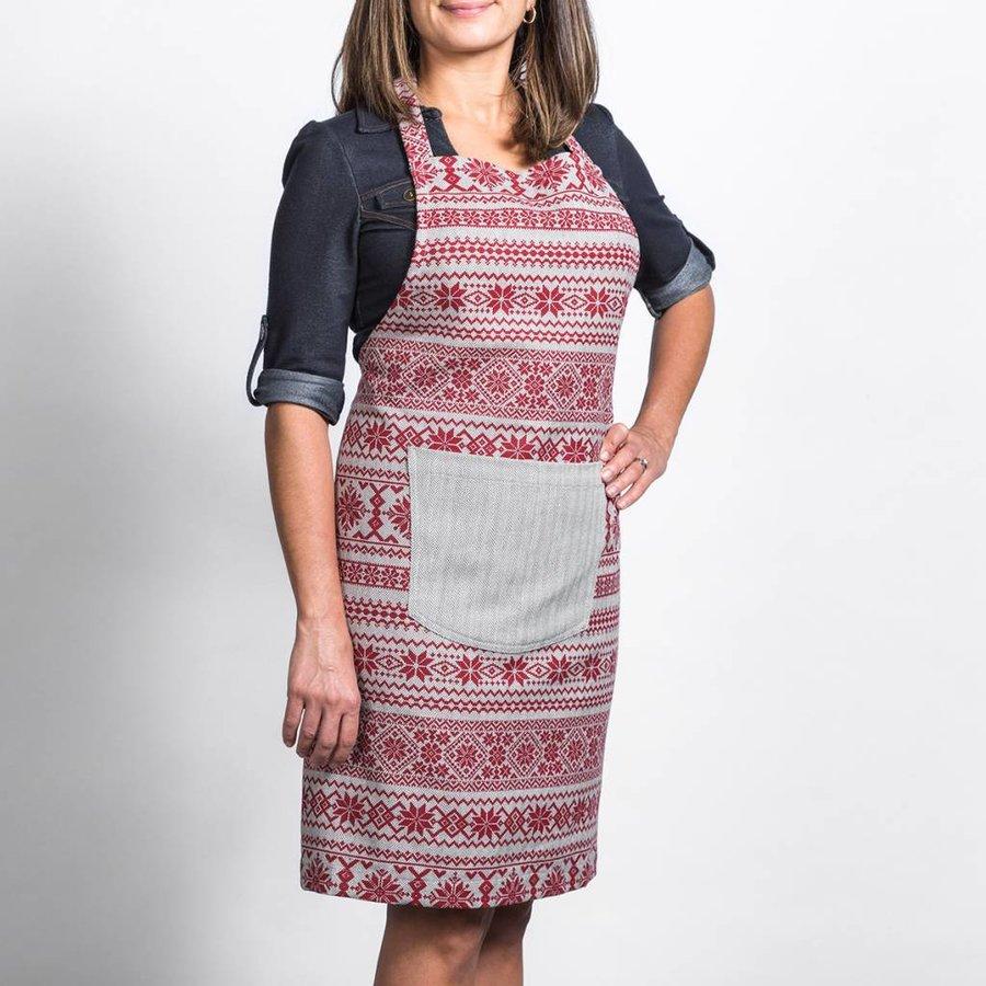 Tablier en tweed à chevrons avec imprimés rouges - Photo 0