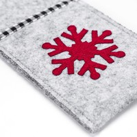 Grey Felt Utensil Pouches with Red Snowflake
