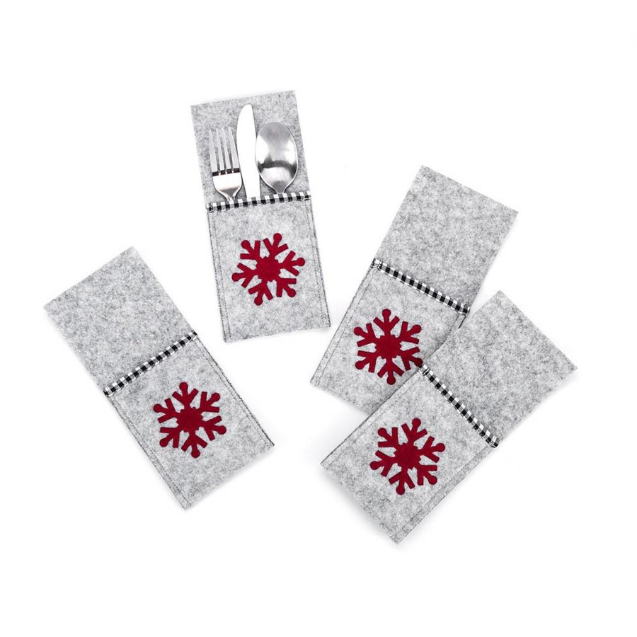 Grey Felt Utensil Pouches with Red Snowflake - Photo 0