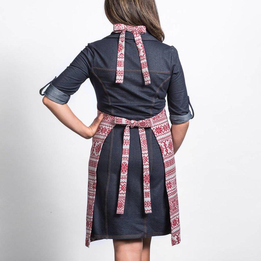 Tablier en tweed à chevrons avec imprimés rouges - Photo 1