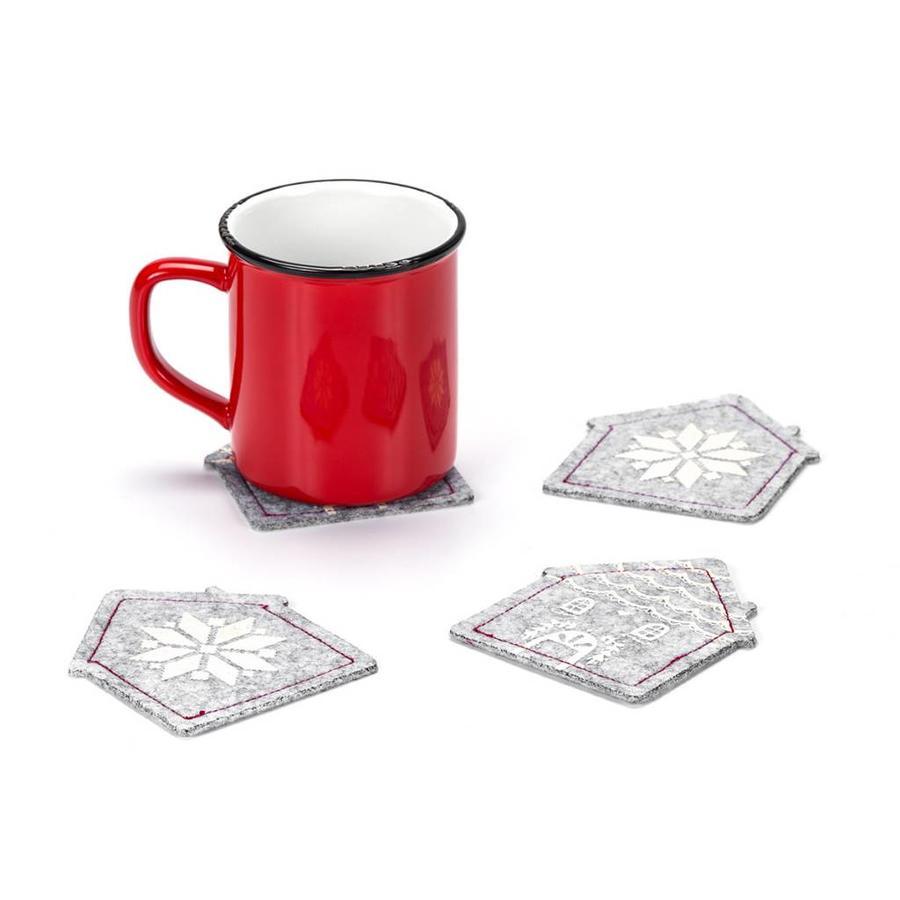 House-Shaped Grey Felt Coasters - Photo 1