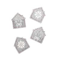 Sous-verres en feutre gris en forme de maison