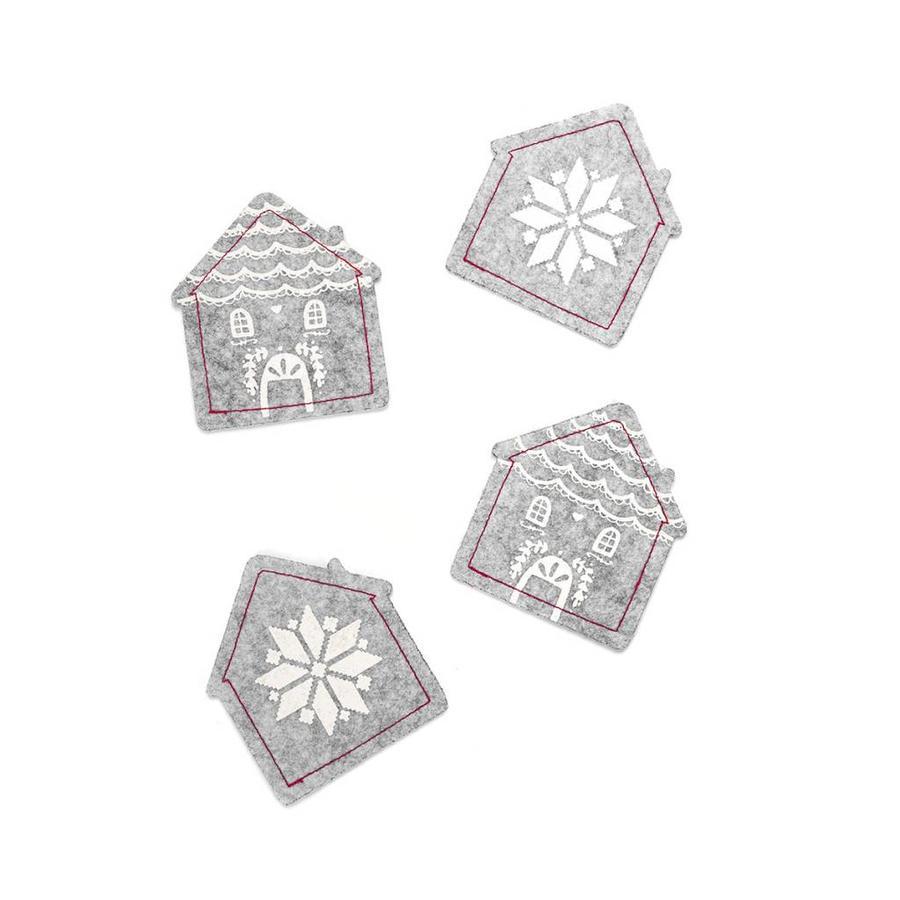 House-Shaped Grey Felt Coasters - Photo 0