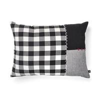 Black and White Checkered and Grey Tweed Herringbone Cushion