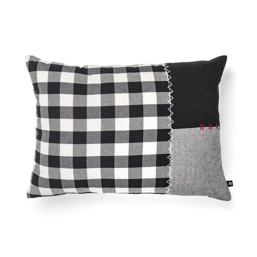 Black and White Checkered and Grey Tweed Herringbone Cushion - Photo 0